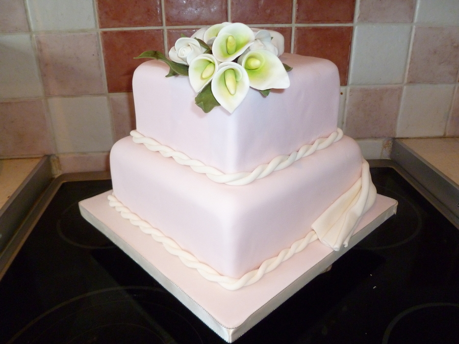 Calla Lilly And Rose 2 Tier Square Wedding Cake