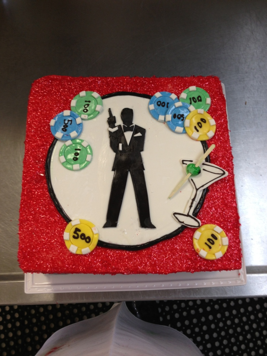 10 Inch Square Cake For A Casino Royalejames Bond Themed Event Yellow Cake With Swiss Meringue Buttercream And Fondant Figurepoker Chips on Cake Central