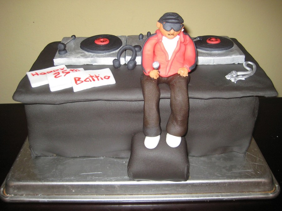 Dj Sitting On Dj Booth on Cake Central