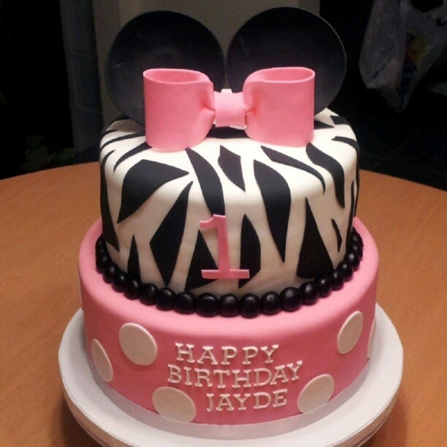 Minnie Mouse Zebra  on Cake Central