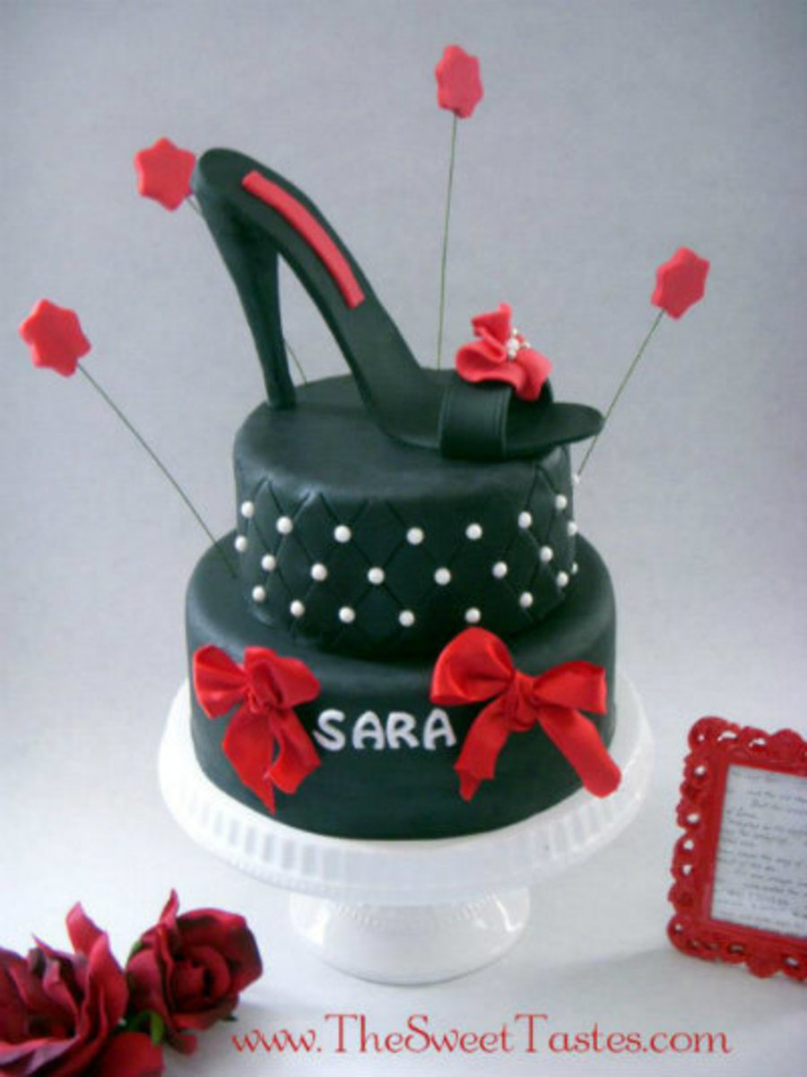 Black And Red Stiletto Cake on Cake Central