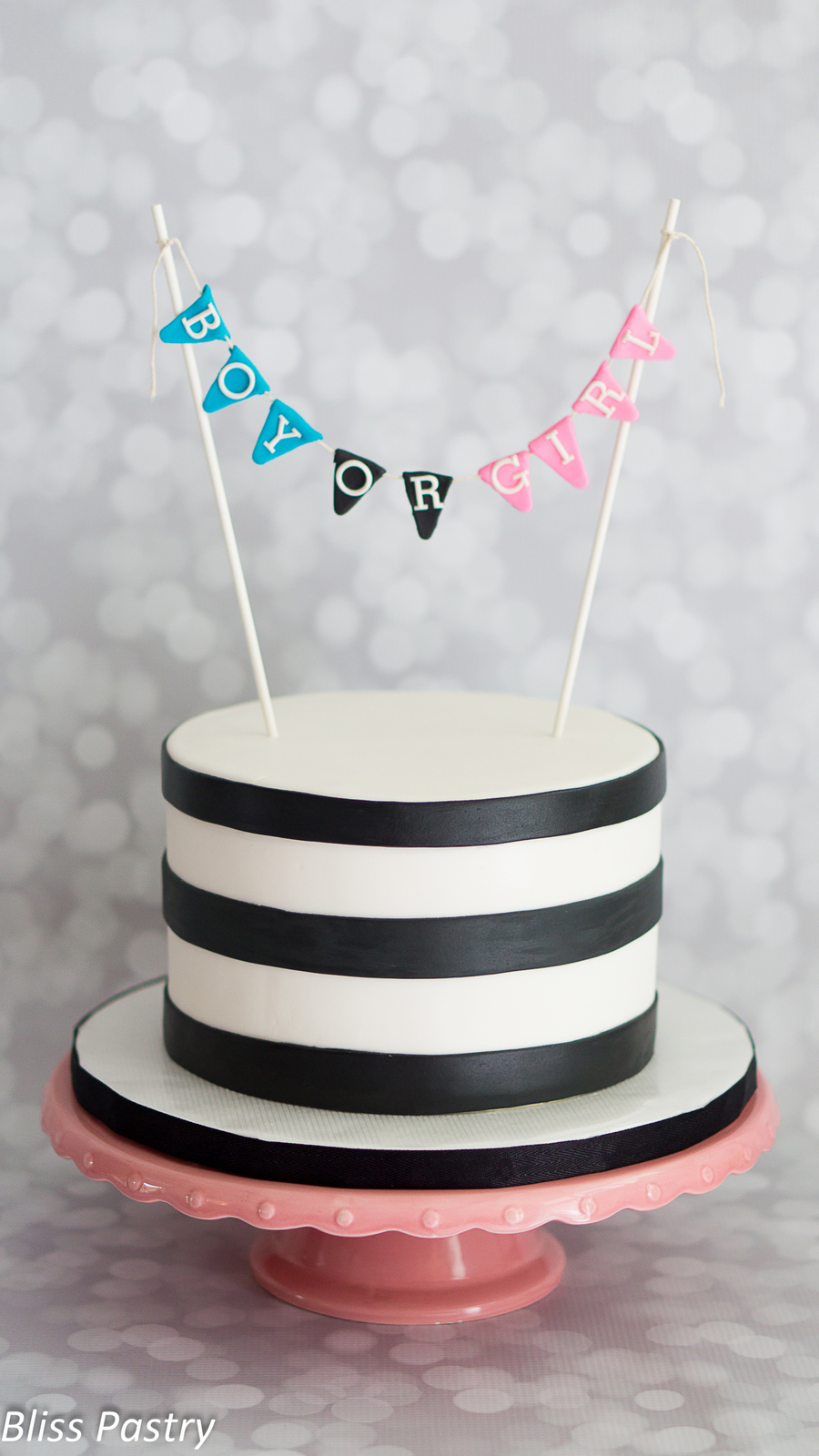 Black And White Gender Reveal on Cake Central