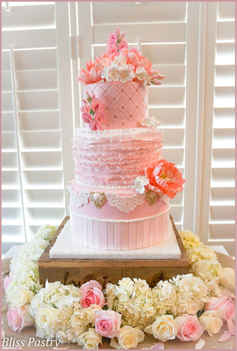 Blush Pink Wedding Cake With Ruffles Peonies Sweet Peas And Hydrangea