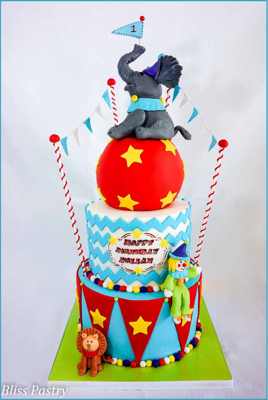 A Circus 1St Birthday Cake Featuring A Happy Clown Lion And Elephant