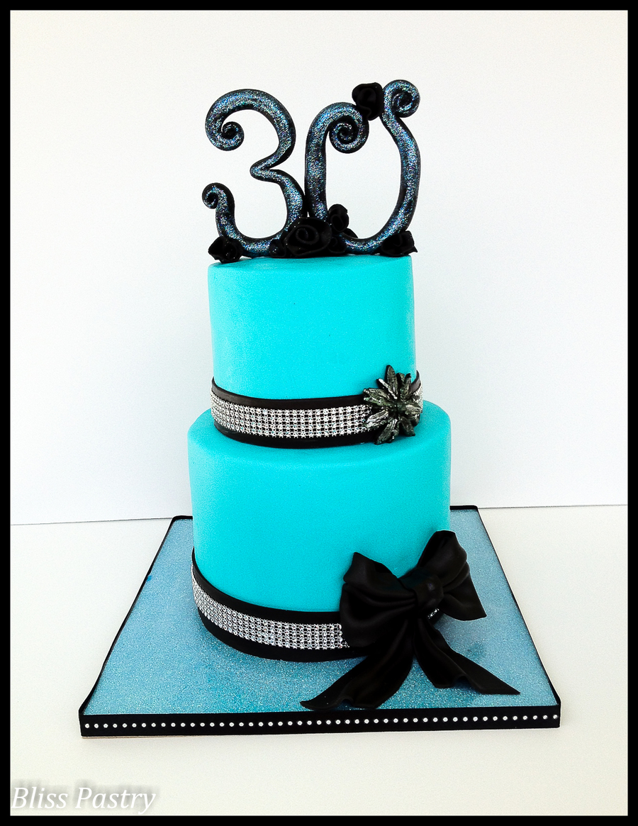Teal, Black And Bling on Cake Central