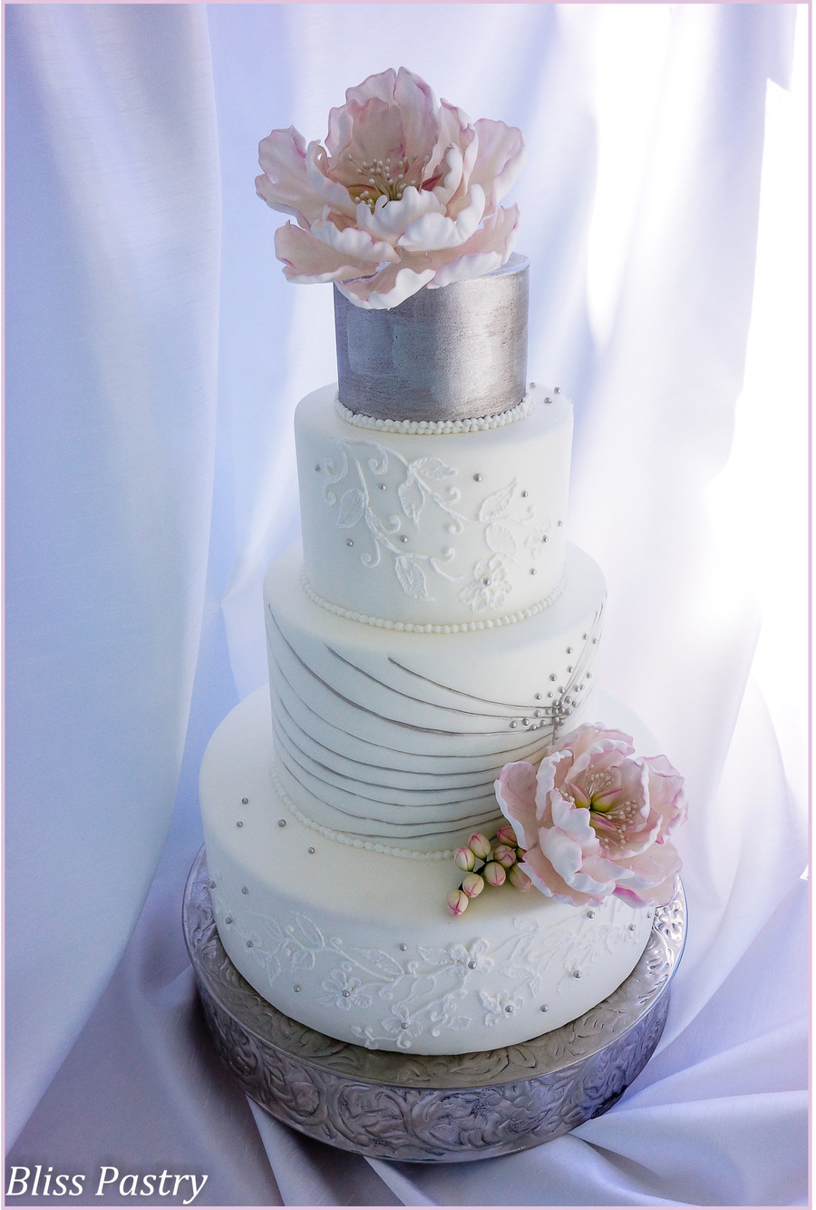 White And Silver Wedding Cake - CakeCentral.com
