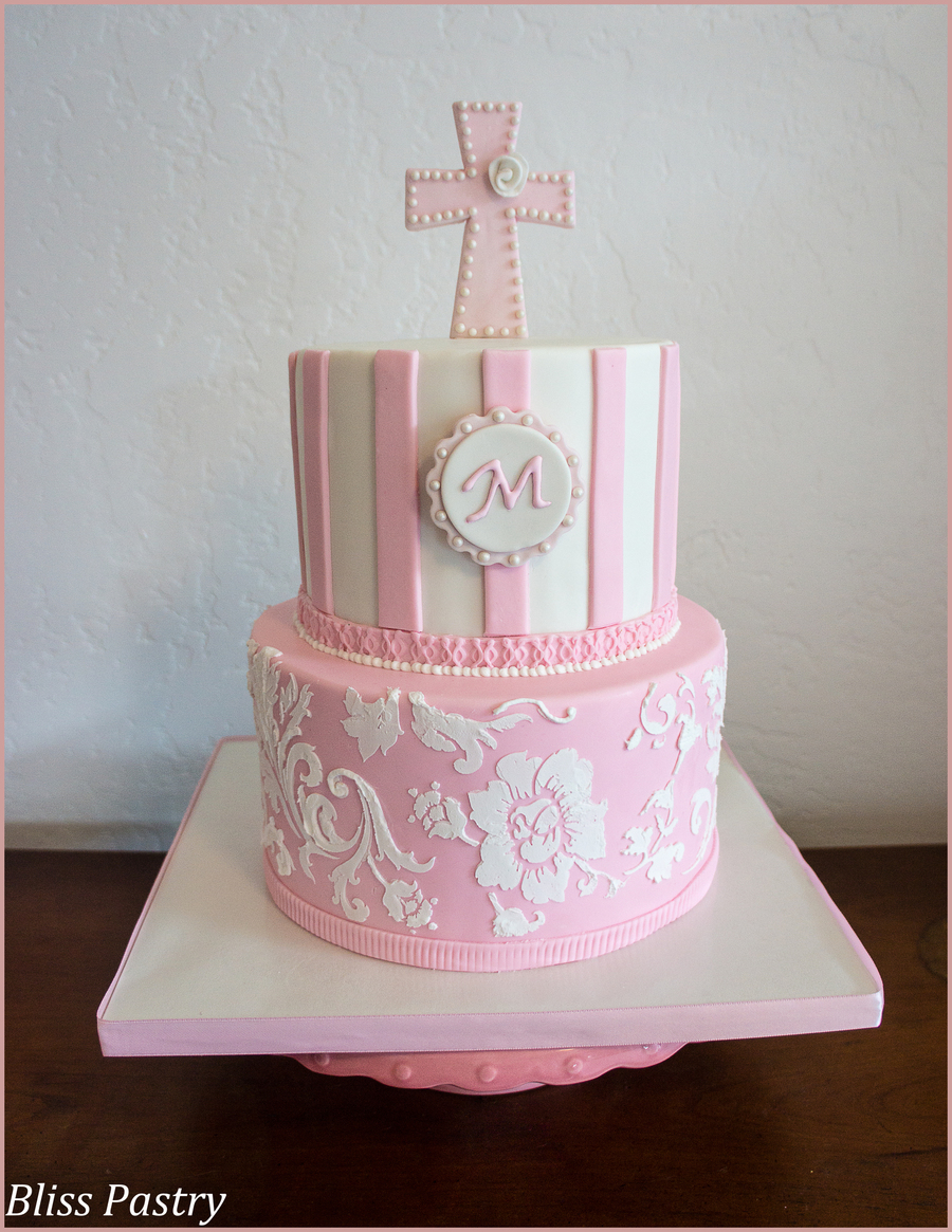 Pink And White Baptism Cake on Cake Central