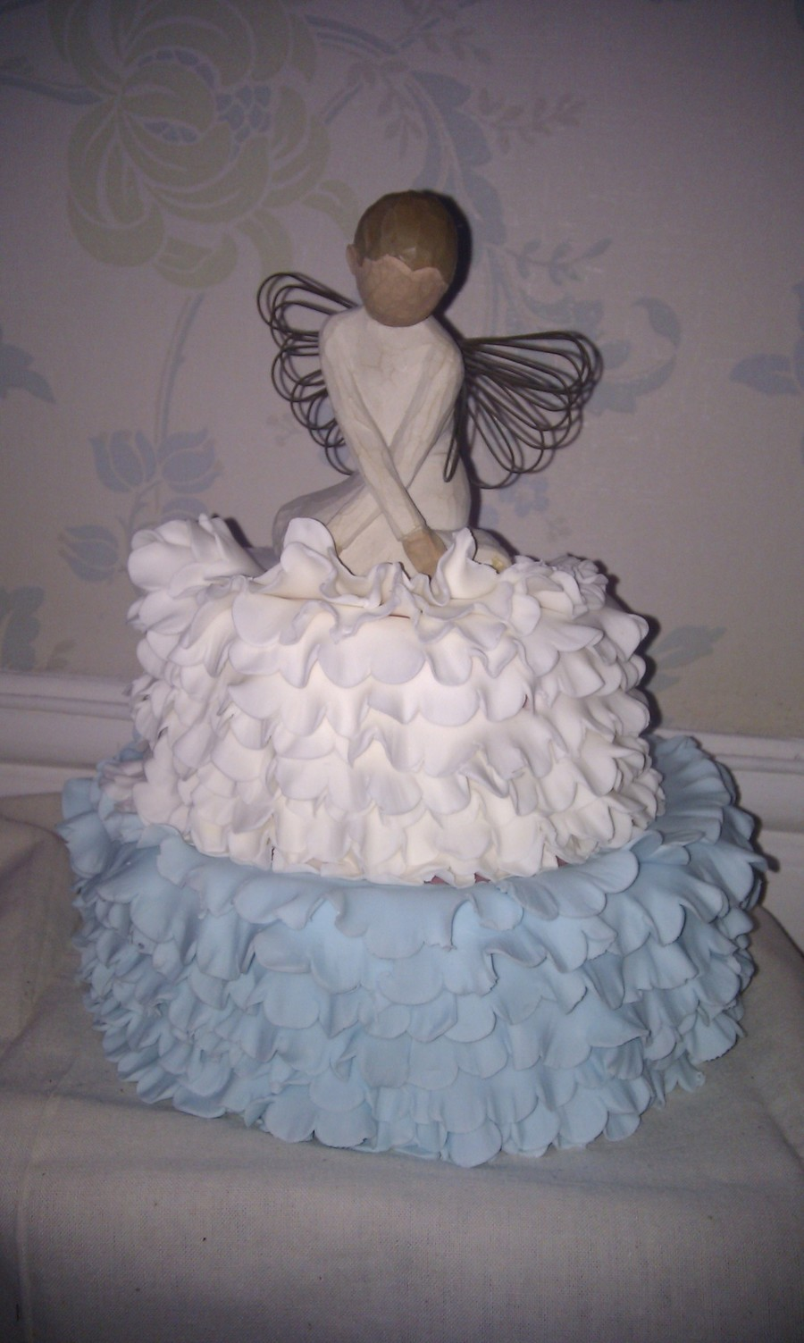 Blue And White Ruffles on Cake Central