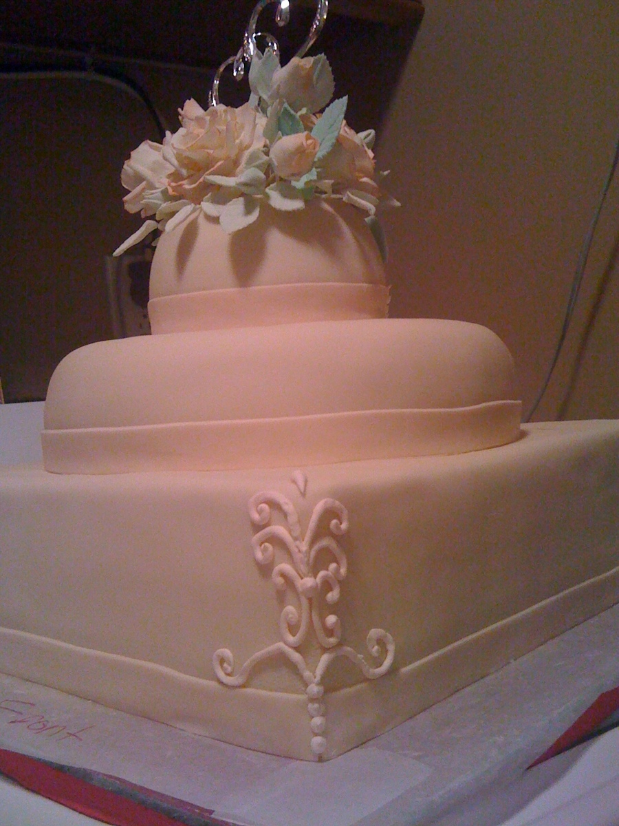 peach wedding cake gallery wedding cake cakecentral 18146