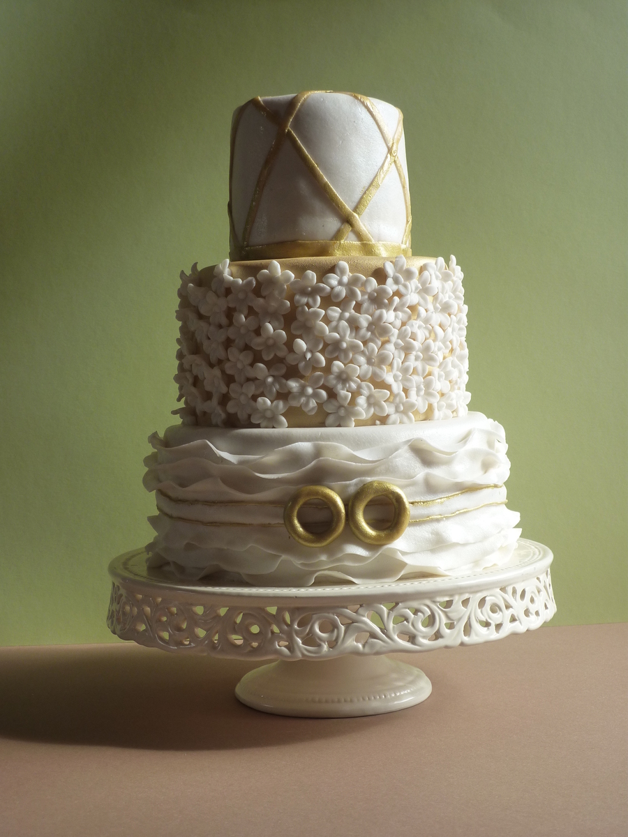 50E Wedding Aniversity White And Golden Cake on Cake Central
