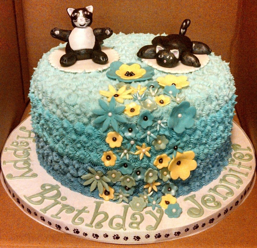 Kitty Cat Theme Birthday Cake Buttercream With Gumpaste Flowers And