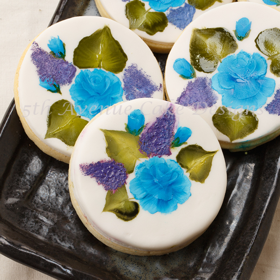 Painted Blue Rose Sugar Cookies For Mothers Day on Cake Central
