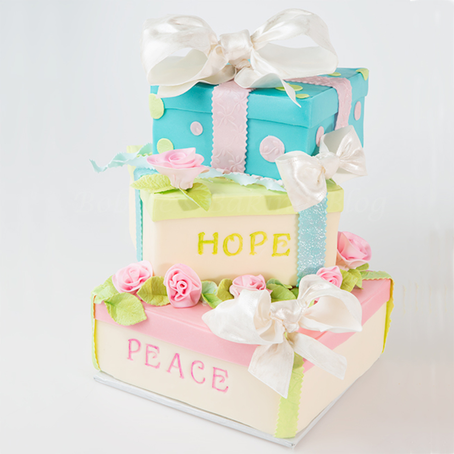 Gift Box Cake Filled With Peace & Hope For 2013 on Cake Central