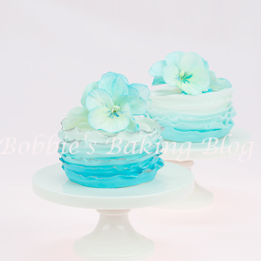 Start Spring Champaign With Ocean Fondant Frill Mini Cakes And Matching Sugar Pansy Sprays on Cake Central