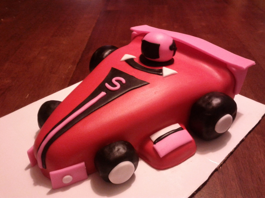 Pink And Orange Race Car on Cake Central