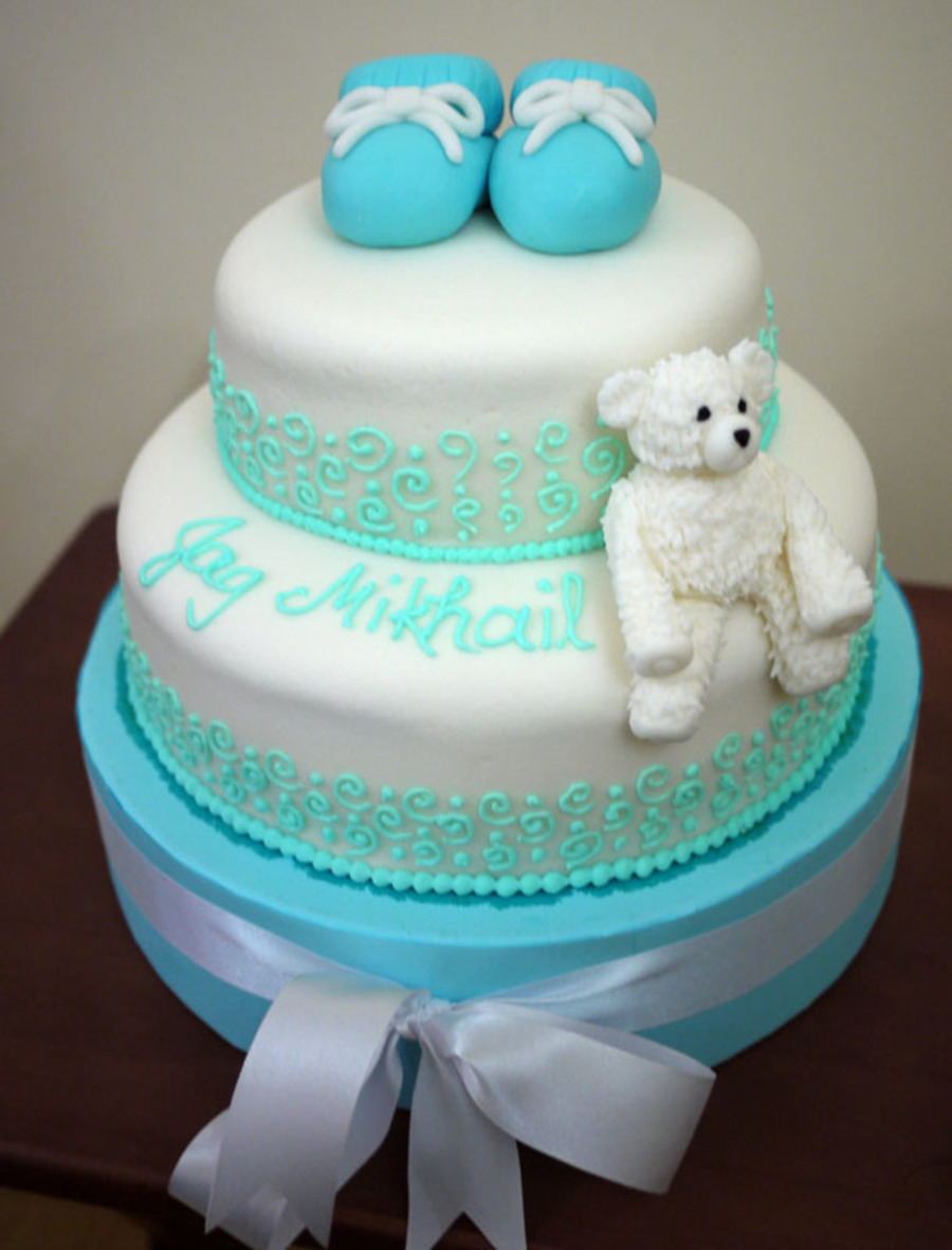 Tiffany Blue Baby Shower Cake on Cake Central