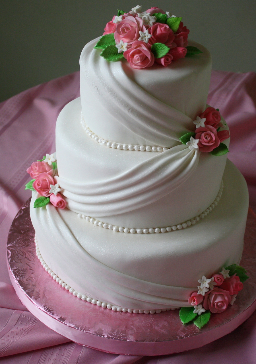 Fondant Wedding Cake With Pink Roses - CakeCentral.com