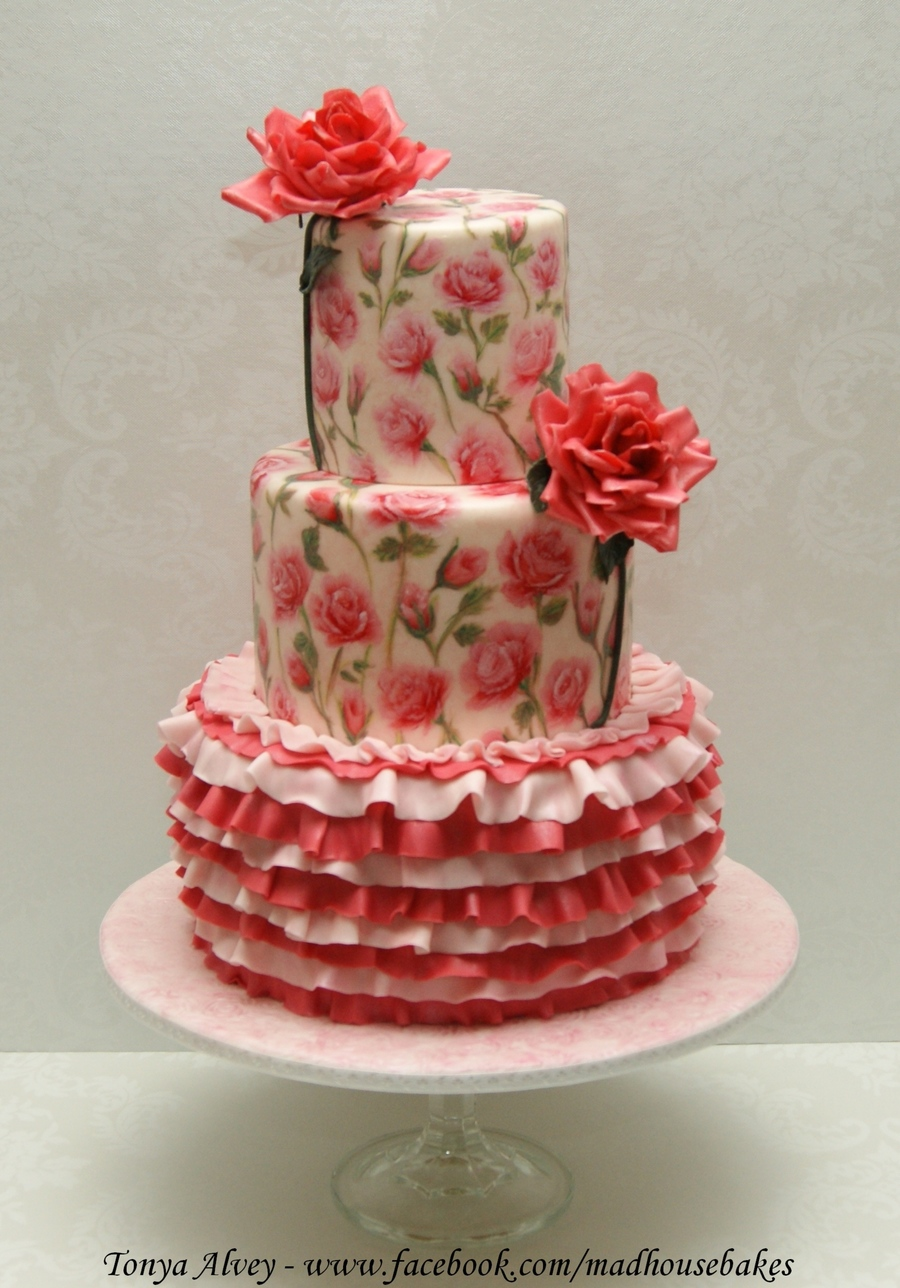 My Hand Painted Rose And Ruffle Cake Cakecentral Com