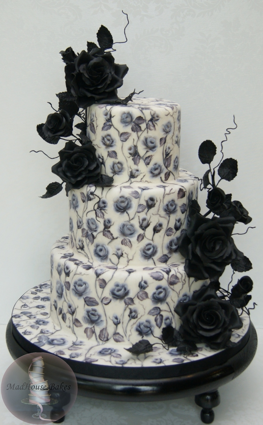 Black Roses A Hand Painted Cake Cakecentral Com