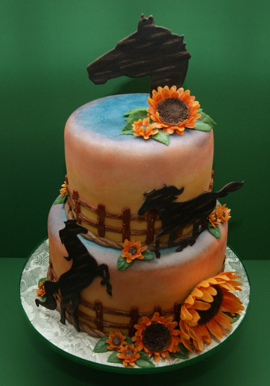 Cake Decorating Horseshoes : My Sunflower And Horse Cake - CakeCentral.com