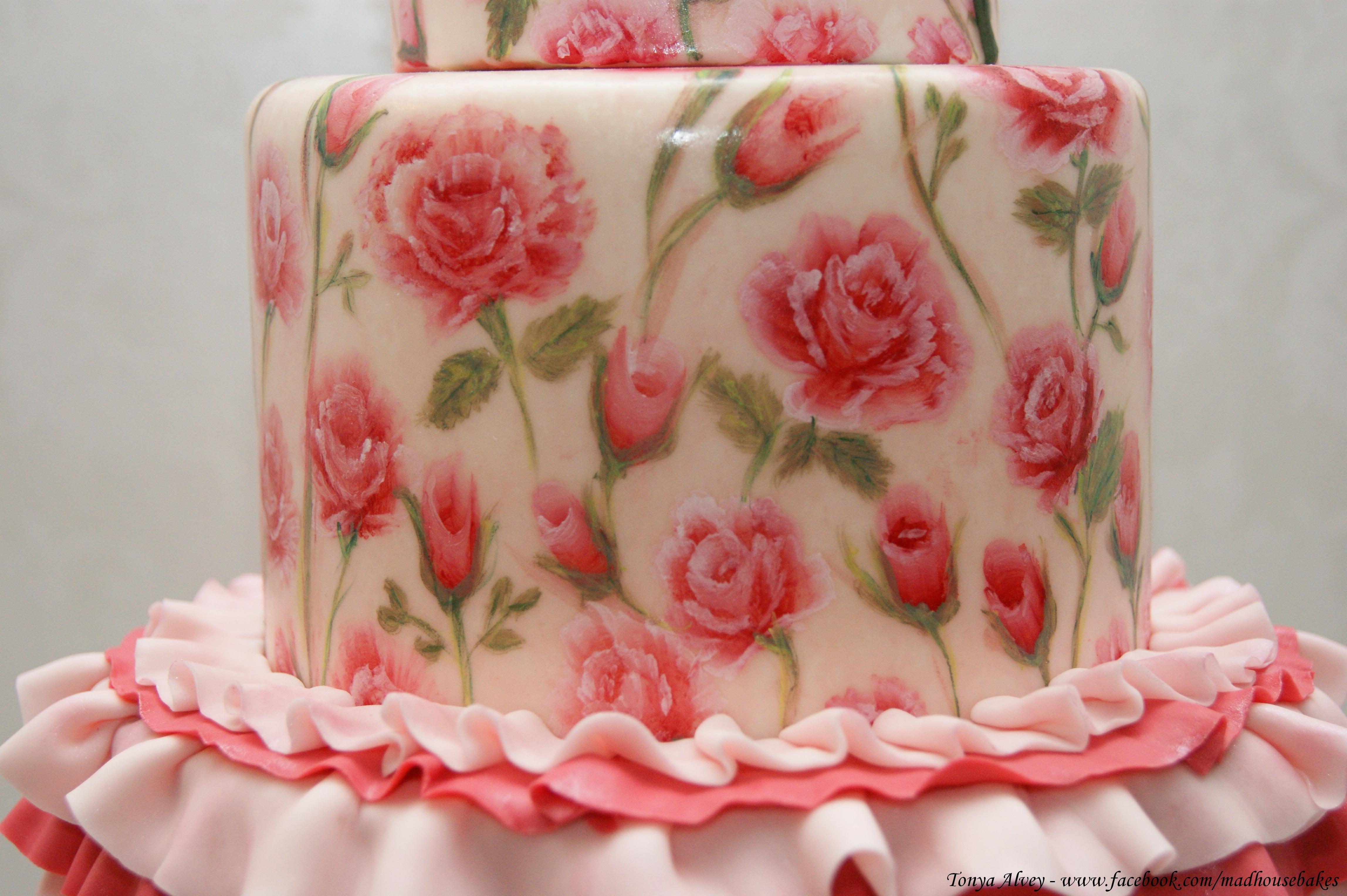 Hand Painted Rose Cake Tutorial