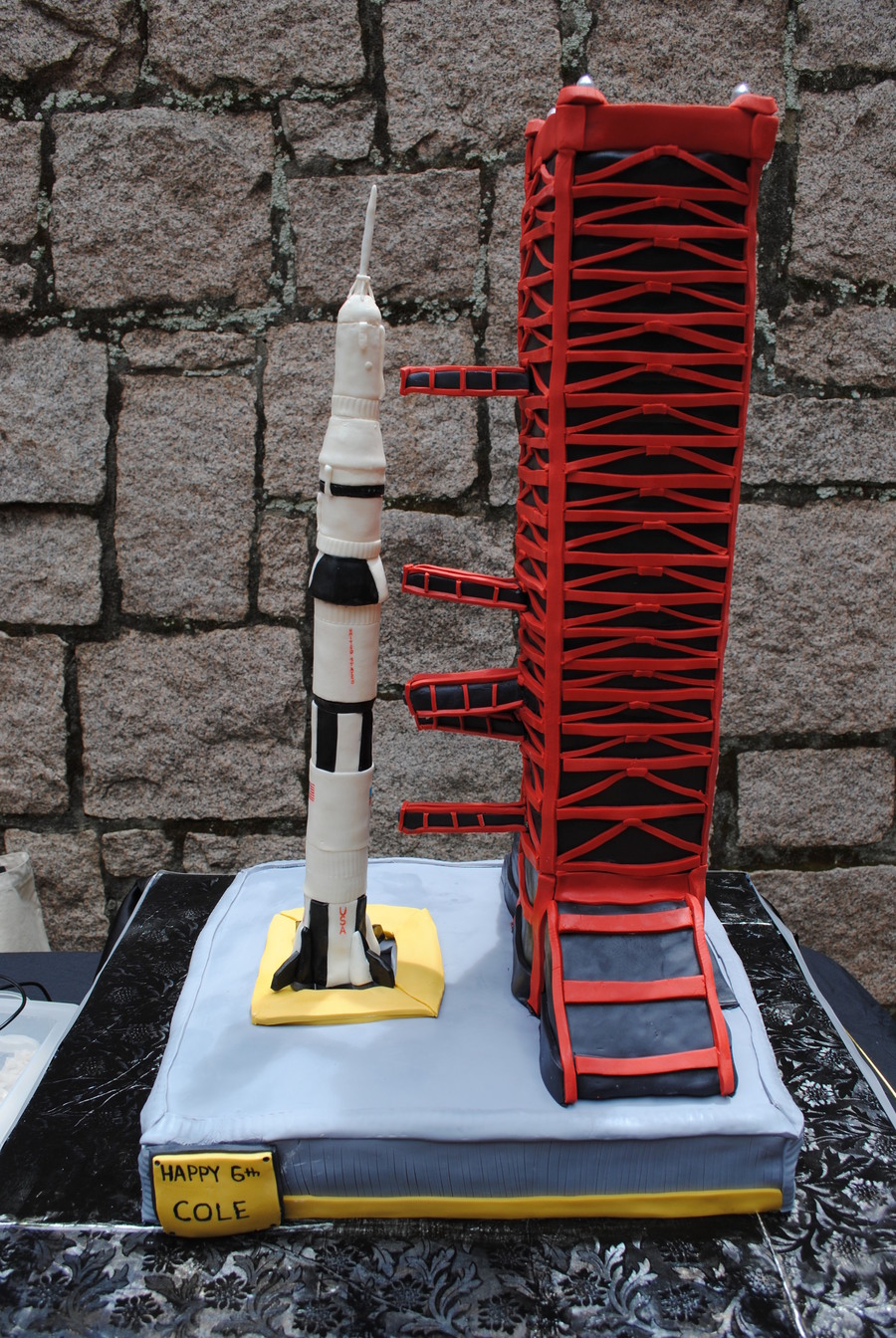 Extreme Saturn V Rocket Cake With Launch Pad And Tower