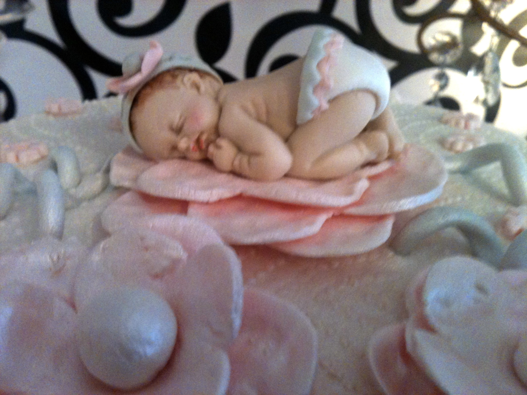Elegant Pink And Grey Baby Shower Cake CakeCentral