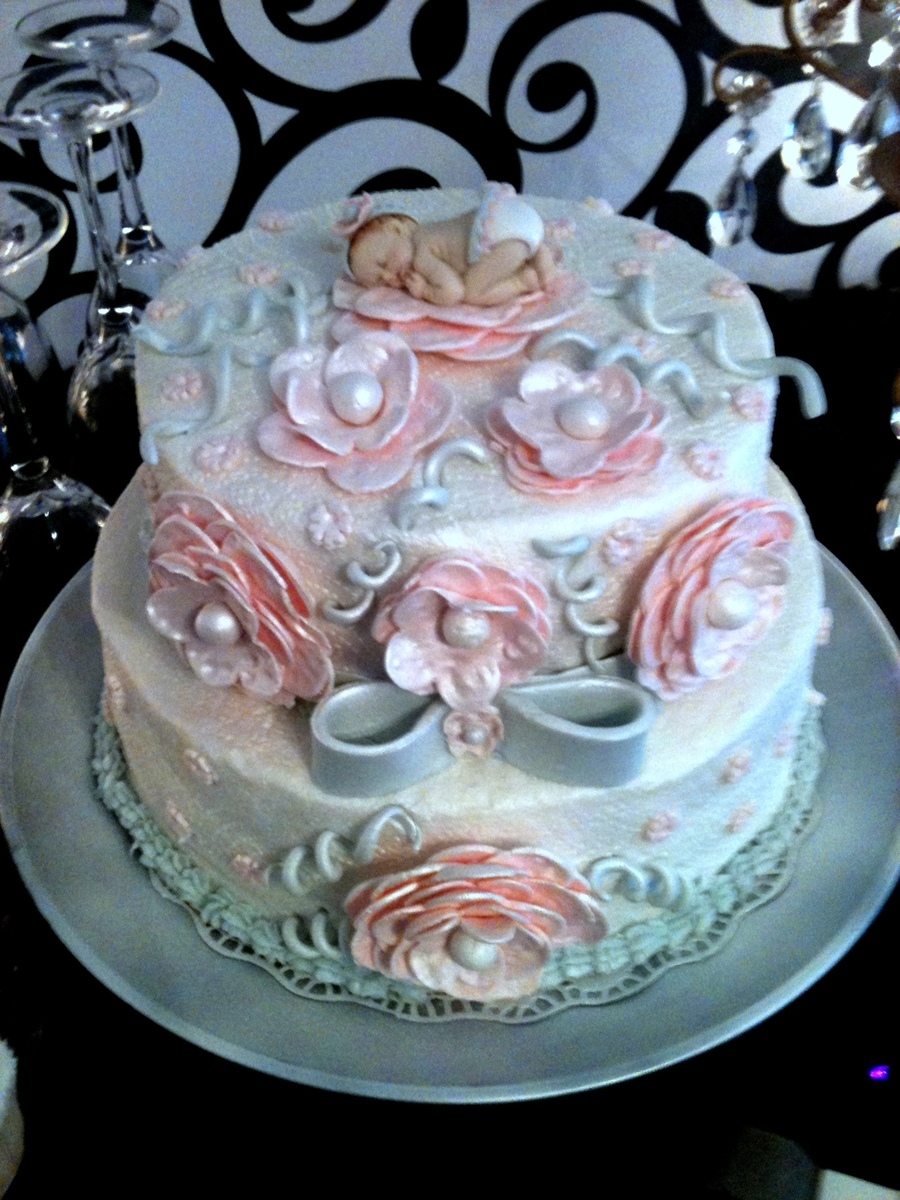 Elegant Pink And Grey Baby Shower Cake CakeCentralcom