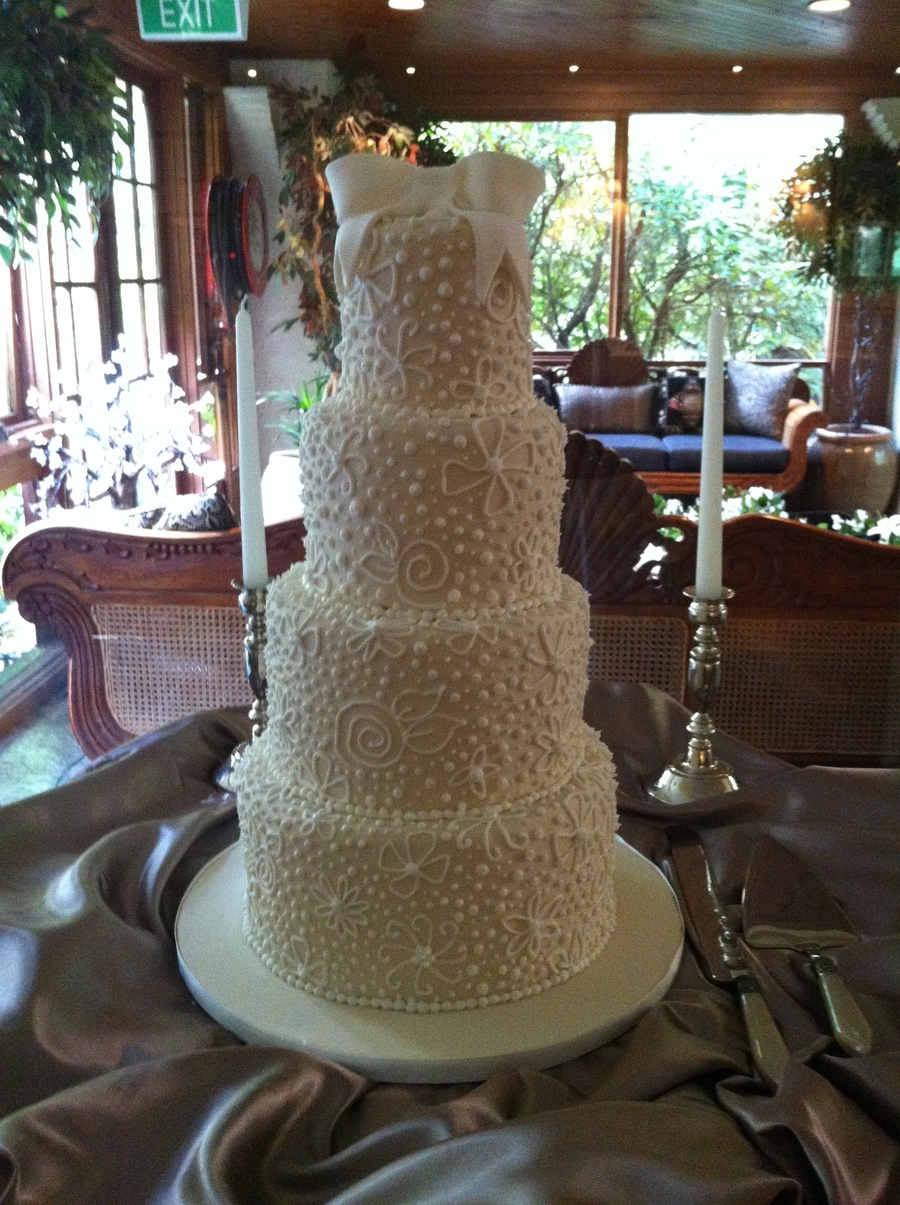 4 Tier Ivory Piped on Cake Central