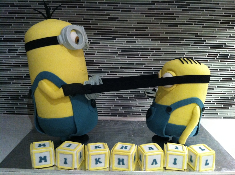 My 3D Standing Up Minins For A 1 Year Old Birthday on Cake Central