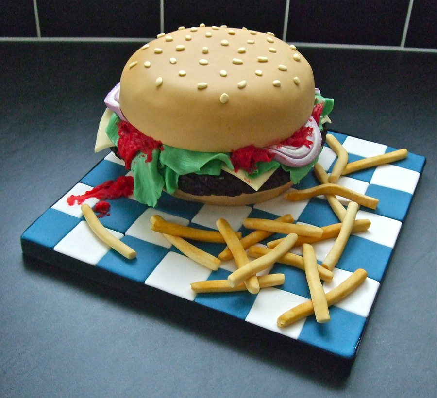 Burger And Fries Cake on Cake Central
