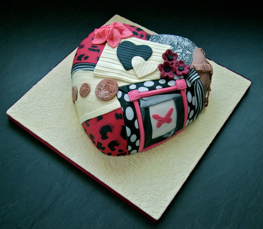 Patchwork Heart Cake Inspired By Lindy Smith on Cake Central