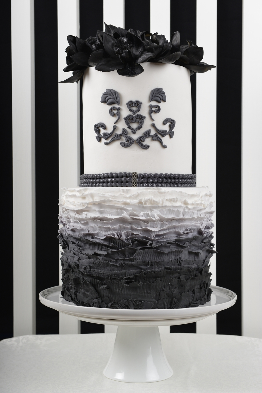 Black & White Ombre Fashion Inspired Cake - Featured In Cake Central Magazine on Cake Central