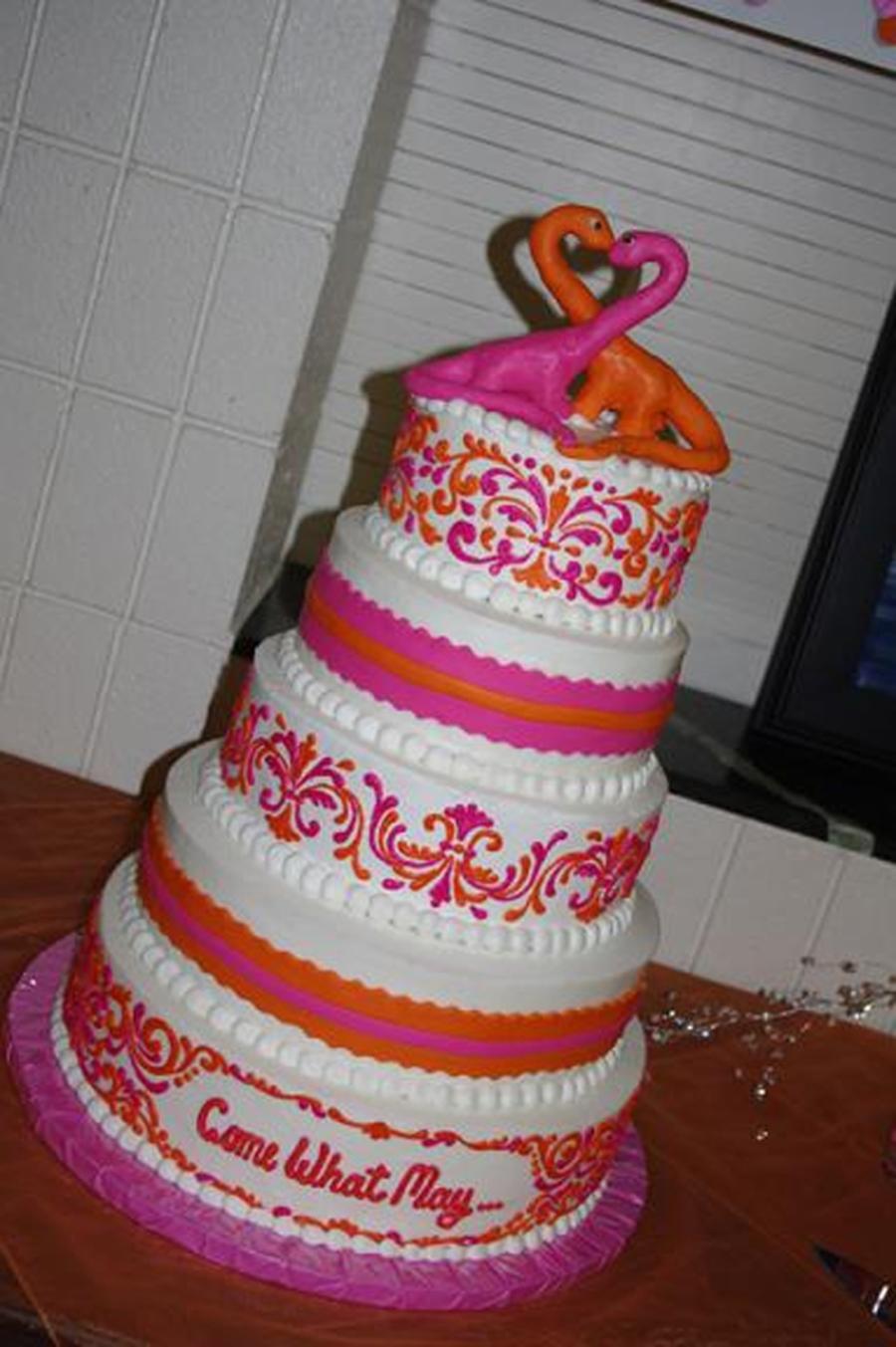 Pink And Orange Wedding Cake On Central
