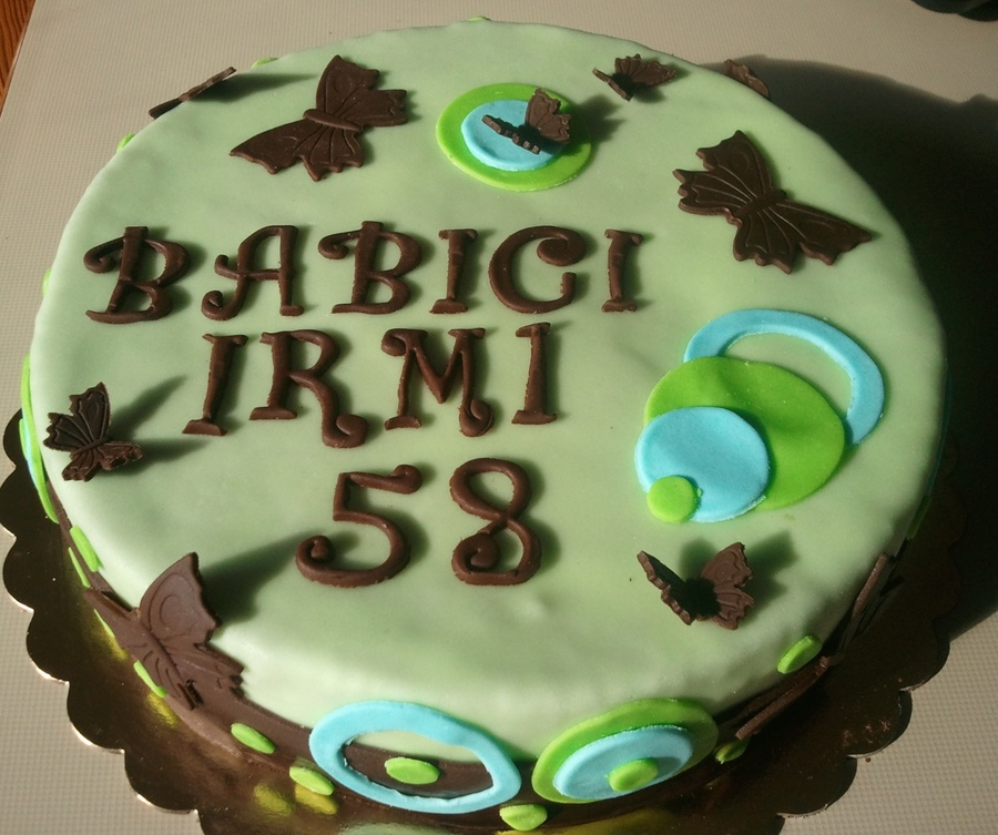 Butterfly Brown Blue Green Circle Pattern on Cake Central