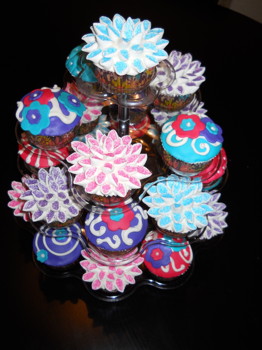 Vibrant Teal Hot Pink And Purple Flower Cupcakes Cakecentral