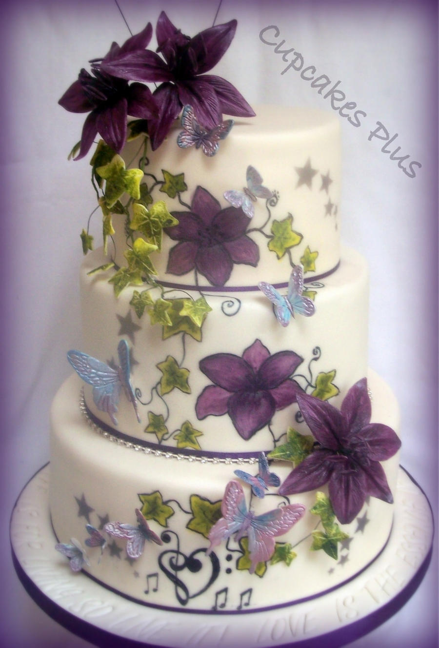 Lily and butterfly wedding cake for Butterfly wedding