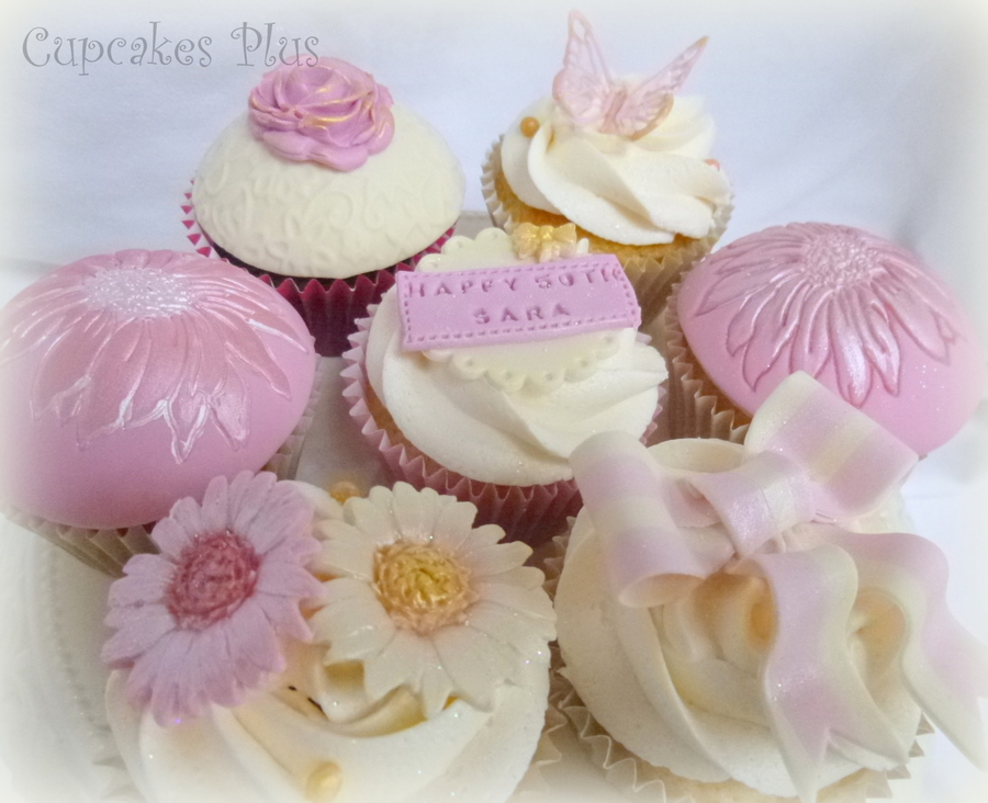 Pink And Girly Cupcakes To Match 50Th Birthday Cake X on Cake Central