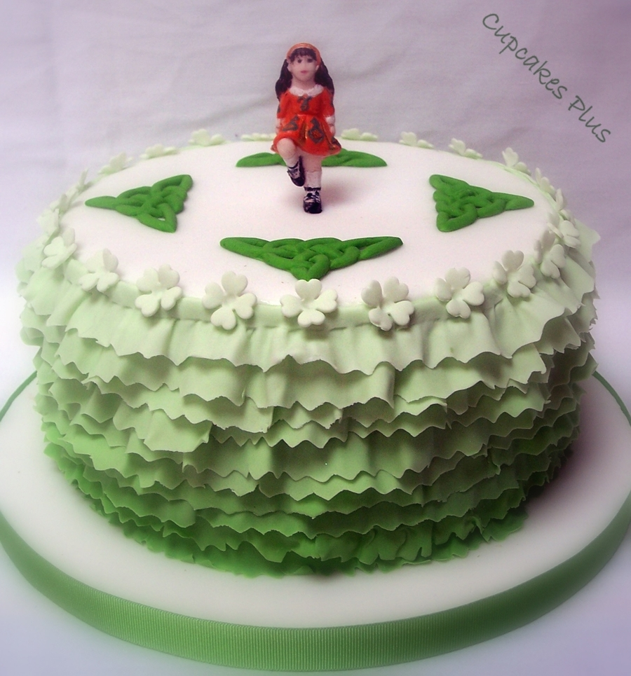 Green Ombre Frill Irish Dancer Cake on Cake Central
