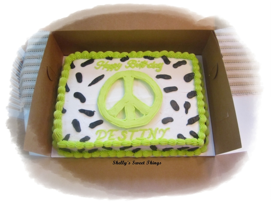 Lime Green Peace Sign Cake on Cake Central