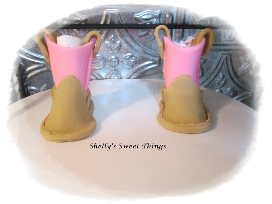 My First Try At Gumpaste Cowgirl Boots Cake Toppertemplate From Cc Thank You on Cake Central