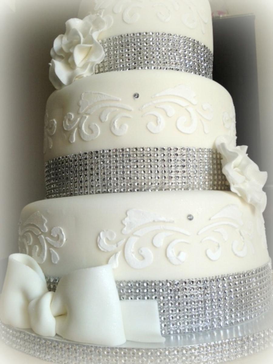 White Amp Silver Christening Cake Cakecentral Com