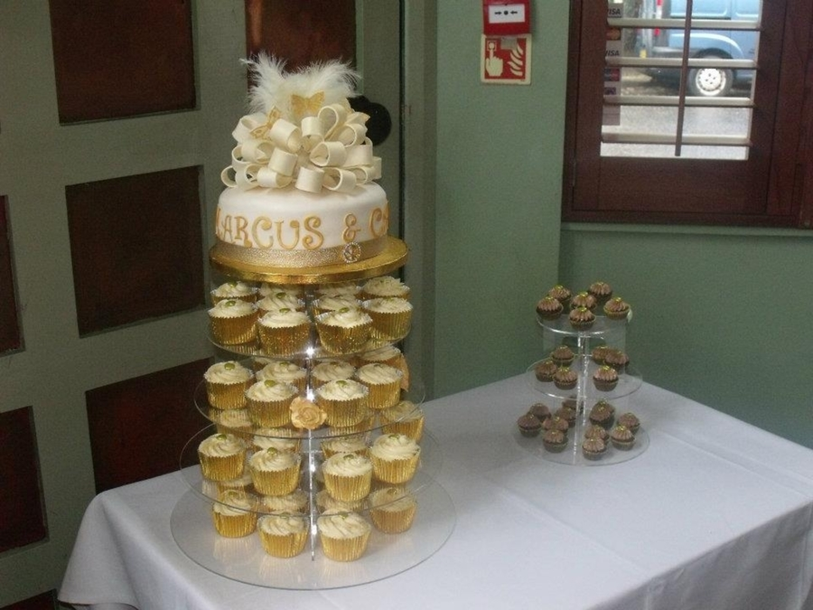 Wedding Cake With Matching Cupcakes on Cake Central