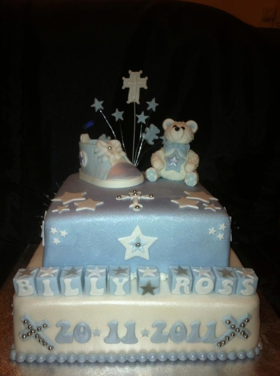 Boys Christening Cake on Cake Central