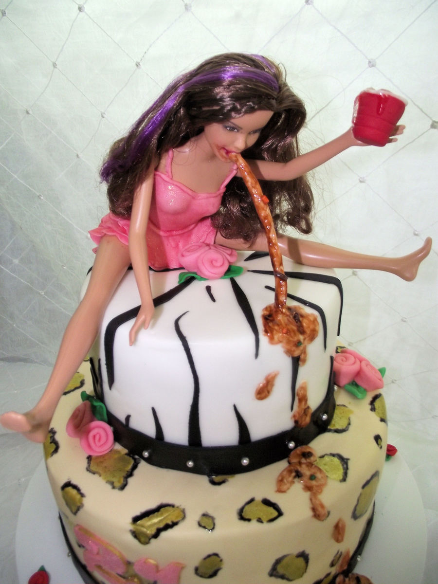 Admirable I Loved This Cake But The Girl Wanted To Add A Barbie Vomiting Personalised Birthday Cards Arneslily Jamesorg