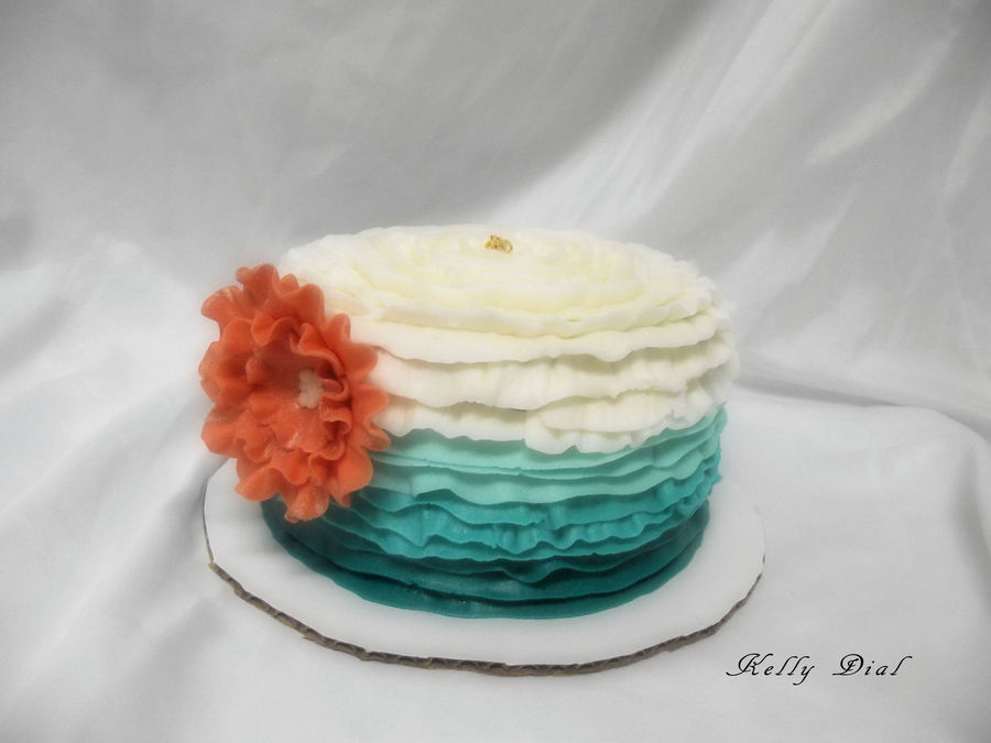 Ive Been Wanting To Try An Ombre Cake I Was Excited To Do This One Chocolate Cake With Peanut Butter Buttercream With Crusting Vanilla B on Cake Central
