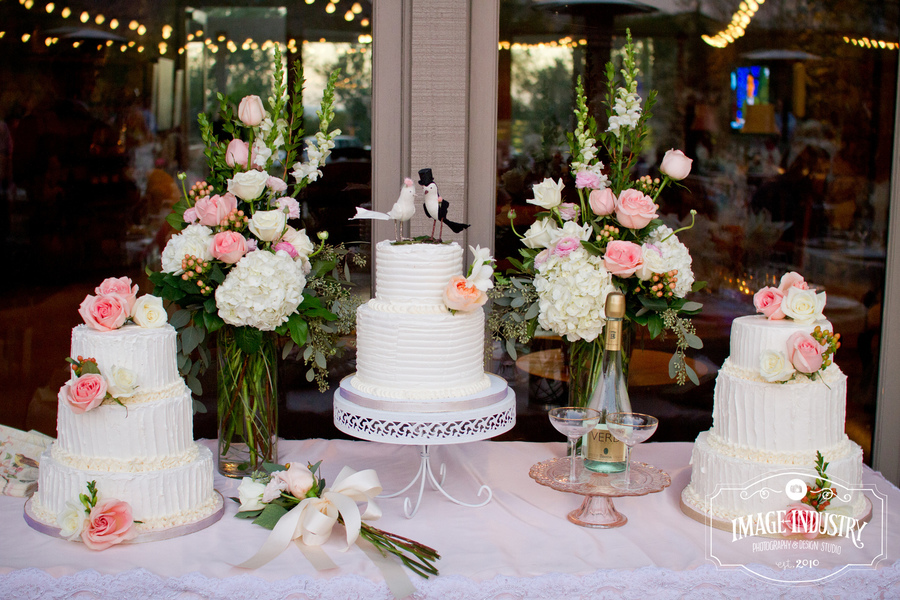 Trio Of Butter Cream Wedding Cakes All With A Different Texture And