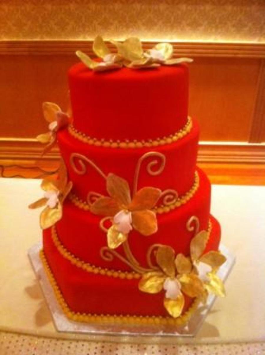Red And Gold Wedding Cake - CakeCentral.com
