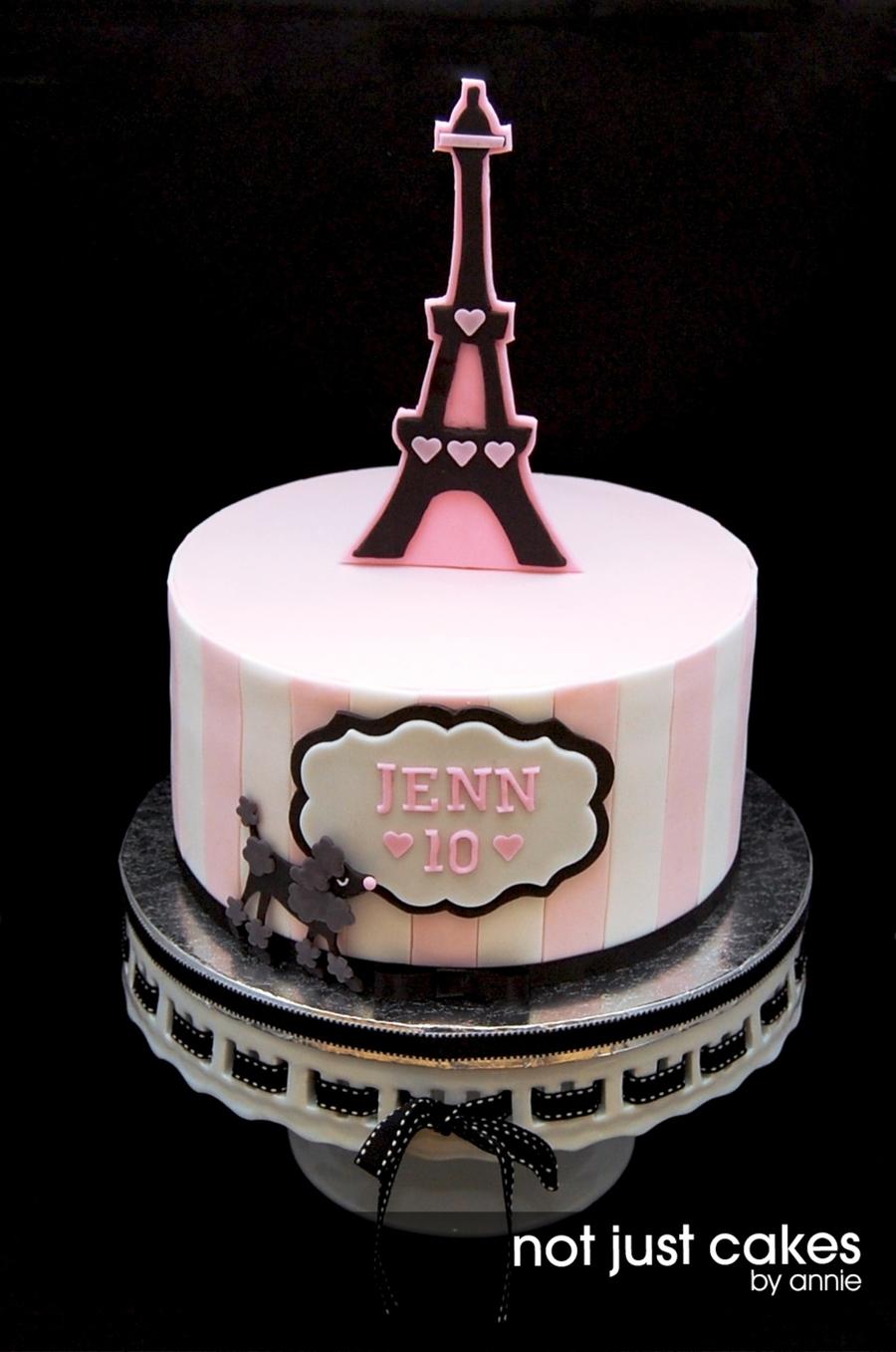 Pink And Black Paris Themed Cake CakeCentralcom