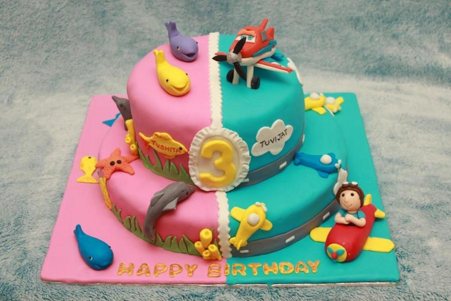 Terrific Twins Birthday Cake Cakecentral Com Personalised Birthday Cards Veneteletsinfo